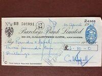 b1u ephemera cashed barclays bank cheque 1948 April 501091 bb