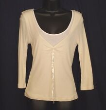 Small Shirt LIZ CALIBORNE 3/4 Sleeve Ivory White Undershirt Womens NEW