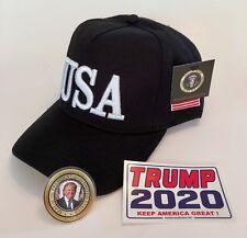 Donald Trump USA..45...Hat..Make America Great Again Cap..MAGA  Black + 2 Decals