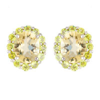 100% NATURAL 10X8MM CITRINE & PERIDOT AAA+ RARE STERLING SILVER 925 EARRING