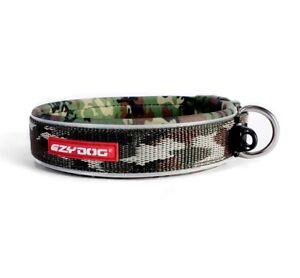 """EZYDOG REFLECTIVE PADDED NEOPRENE DOG COLLAR """"NON ROT / NON SMELL"""" GREEN CAMO"""