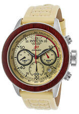 Invicta Mens 49mmS1 Rally Quartz SS Chronograph Off-White Leather Watch 23064