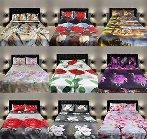 3D Duvet Quilt Cover Set Double King 3D Bedding Animal Floral improved Quality