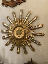 "Spectacular Antique Italian Carved Giltwood Mirror Inset Sunburst Barometer 34"""