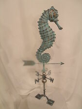 LARGE Handcrafted 3D 3-Dimensional SEAHORSE Weathervane Copper Patina Finish