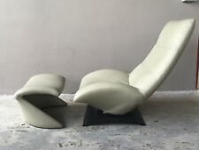 VINTAGE SLEEK SEXY MODERNIST ARTIFORT LEATHER CHAIR AND OTTOMAN - P