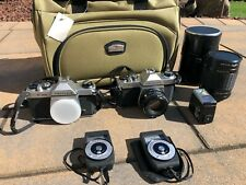 2 PENTAX K1000 Film Cameras, Kalimar Telephoto Lens, 2 Light Meters, Flash, Bag