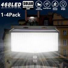 Outdoor 468 LED Solar Wall Lights Power PIR Motion Sensor Garden Yard Path Lamps