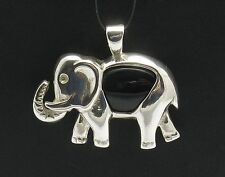 STERLING SILVER PENDANT ELEPHANT NATURAL BLACK ONYX NEW PE000597 EMPRESS SOLID