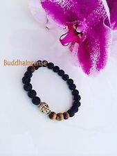 Tiger Eye Unisex Lava Stone bracelet with gold Buddha head, Meditation Mala