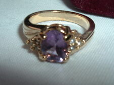 BEAUTIFUL AMETHYST GOLDTONE RING, SIZE 6, NEW IN RING BOX