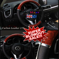 Universal Auto Car Steering Wheel Cover Mahogany Wood PU Leather Fit 38cm Wheel