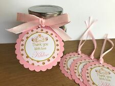 Pink & Gold Princess Personalised Thank you Tags~Birthday,Baby Shower,Christeni