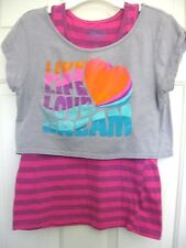 Girls Disney Tank and S/S Cropped Top Pink & Gray Size XL
