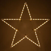 LED Christmas Lighted Star Outdoor Handing Decoration Warm White Folding Large