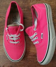 Womens Neon Pink Vans trainers lace up chunky canvas shoes UK size 5 old skool.