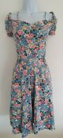 Womens Joe Browns Blue Floral Ruched Sleeves Vintage Style Tea Dress 14 New.