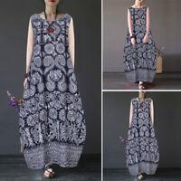 ZANZEA Women Sleeveless Summer Tank Dress Floral Print Long Shirt Dress Sundress
