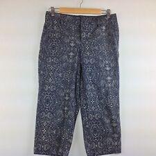 Dockers Capri Dress Pants Women 6 Stretch Cotton Blue Scroll