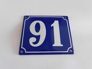 Old French Blue Enamel Porcelain Metal House Door Number Street Sign / Plate 91