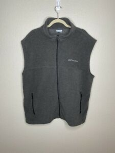 COLUMBIA XL Mens Fleece Vest Gray Full Zip Lightweight Zip Pockets Columbia Logo