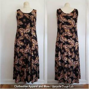 Womens Knit Shift Dress Medium Brown Stretch Midi Sleeveless Scoop Neck Stretch
