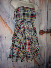 Just for Wraps Plaid Layered women's size S Short, side zip, Strapless Dress