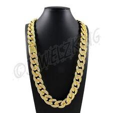 Mens Hip Hop 18mm 18K Gold Lab Diamond Miami Cuban Link Chain Necklace *HEAVY*
