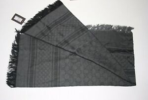NWT GUCCI GG  WOOL SILK SCARF GRAPHITE/BLACK