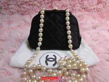 RARE CHANEL VINTAGE Nylon Frame Clutch Pearl Strap Bag Gold HW