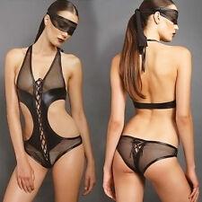 Damen Sexy V Transparent Body Dessous Babydoll Negligee Reizwäsche Catsuit Anzug