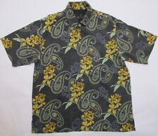 Tommy Bahama Mens Size Large Hawaiian 100% Silk Shirt Floral Kapalua Logo Hawaii