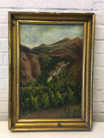 Vintage Possibly Antique Signed CBB Oil on Board Mountain Landscape Painting