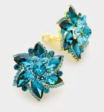 "1.25"" Big Clip On Teal Blue STUD Crystal Rhinestone Earrings"