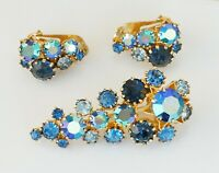 Vintage Signed AUSTRIA Sapphire Blue AB Rhinestones Earrings Brooch Set ~ Large