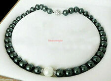 8mm Black & 10mm White Round Shell Pearl Necklace 18 ''aaa