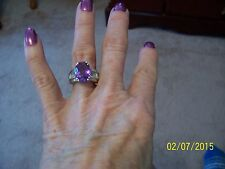 Lavender Alexite Quartz & White Topaz Ring 8.05 Cts Platinum Overlay SS Size 7