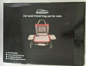 Car Seat Travel Activity Tray w/Kids on Board Sticker & Crayons Autozon New