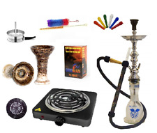 "30"" GENUNE KHALIL MAMOON SHISHA BEGINNERS KIT, COIL BURNER, PHUNNEL, COAL, TIPS"