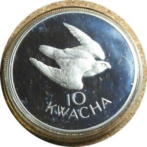 elf Zambia 10 Kwacha 1979 Silver Proof Taita Falcon 3,256 minted