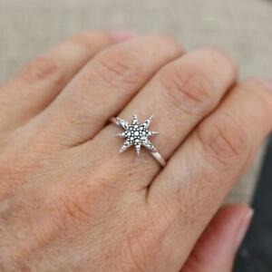 Plain 925 Sterling Silver Marcasite Effect Star Shaped Ring Jewellery