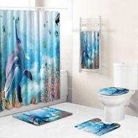 Dolphin Bathroom Rug Set Shower Curtain Bath Towel Bath Mat Toilet Lid Cover