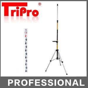 Heavy Duty Telescope Telescoping Pole Tripod + 4M Laser Level Staff Kit Set