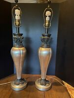 VINTAGE MAITLAND SMITH PAIR OF CLASSICAL ANTIQUITY SCULPTURE LAMPS HAND MADE