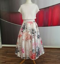 """GORGEOUS COAST """"KARIS""""PINK FLORAL FIT AND FLARE EVENING DRESS SIZE 12"""