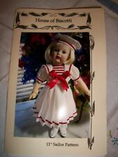 """New 11"""" Bleuette Pattern for a Sailor Dress and Hat"""