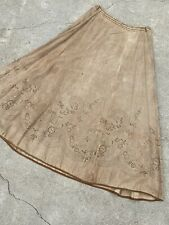 Antique Victorian Ecru Linen Skirt Maxi Calico Striped Florals Ticking  Vintage