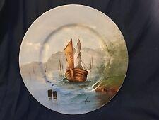 Ship Sea landscape Factory decorated  Limoges France Artist signed Plate