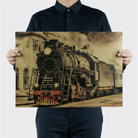Vintage Steam Train Nostalgic Vintage Kraft Paper Posters Decorations Wall'Stick