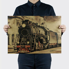 Vintage Steam Train Nostalgic Vintage Kraft Paper Poster Decoration Wall Sticker